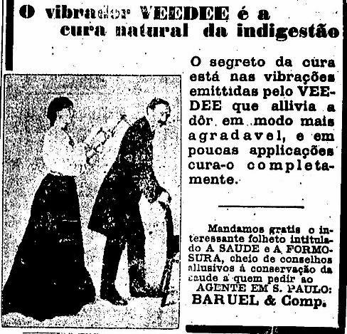 Vibrador Veedee para acabar com a indigestão em 1912.