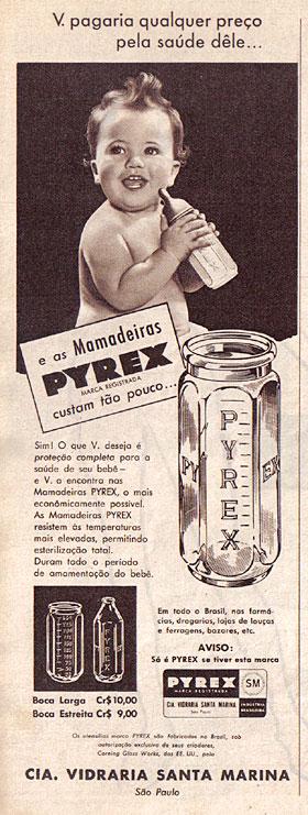 Propaganda de mamadeira de vidro da marca Pyrex. Veiculada nos anos 50.