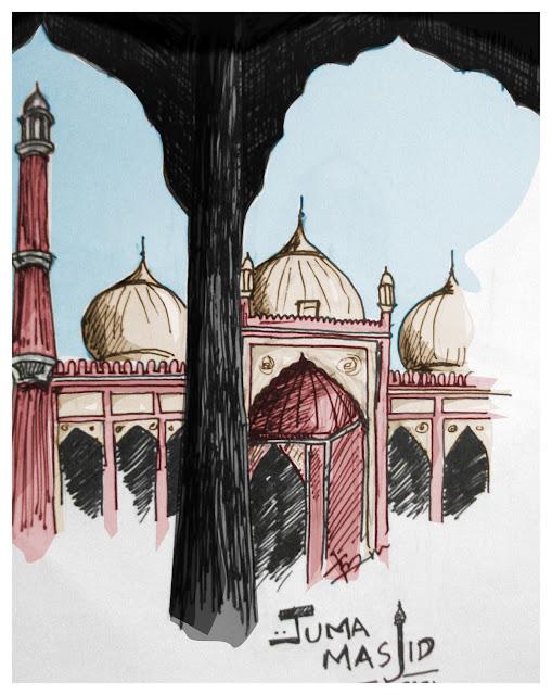 Delhi Juma Masjid Sketch