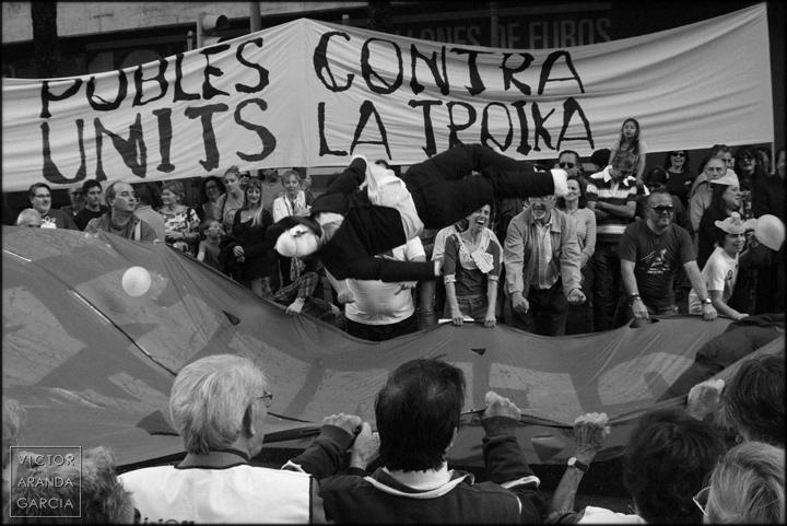 Fotografías tomadas durante la concentración en Valencia contra la Troika