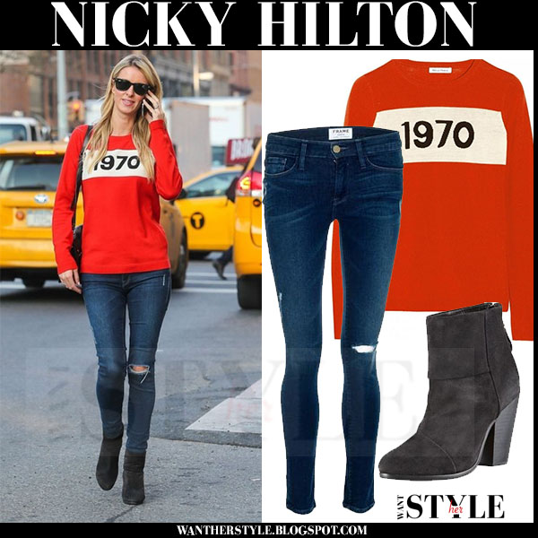 Nicky Hilton in red 1970 bella freud sweater frame denim skinny jeans and rag bone ankle boots streetstyle inspiration what she wore