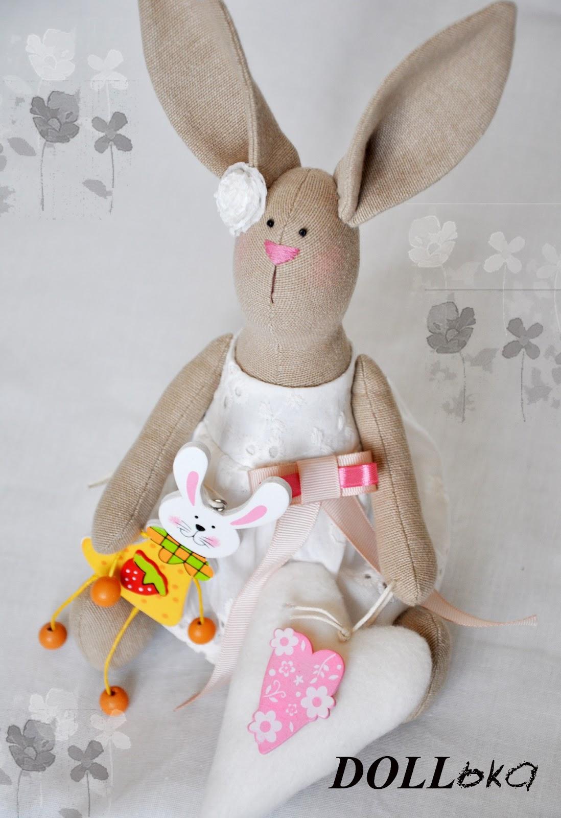 Зайка Настёна текстильная игрушка ручной работы