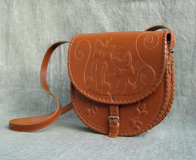 Kitty-cats Leather Handbag Made by Kotylasya Torba Studio, Ukraine