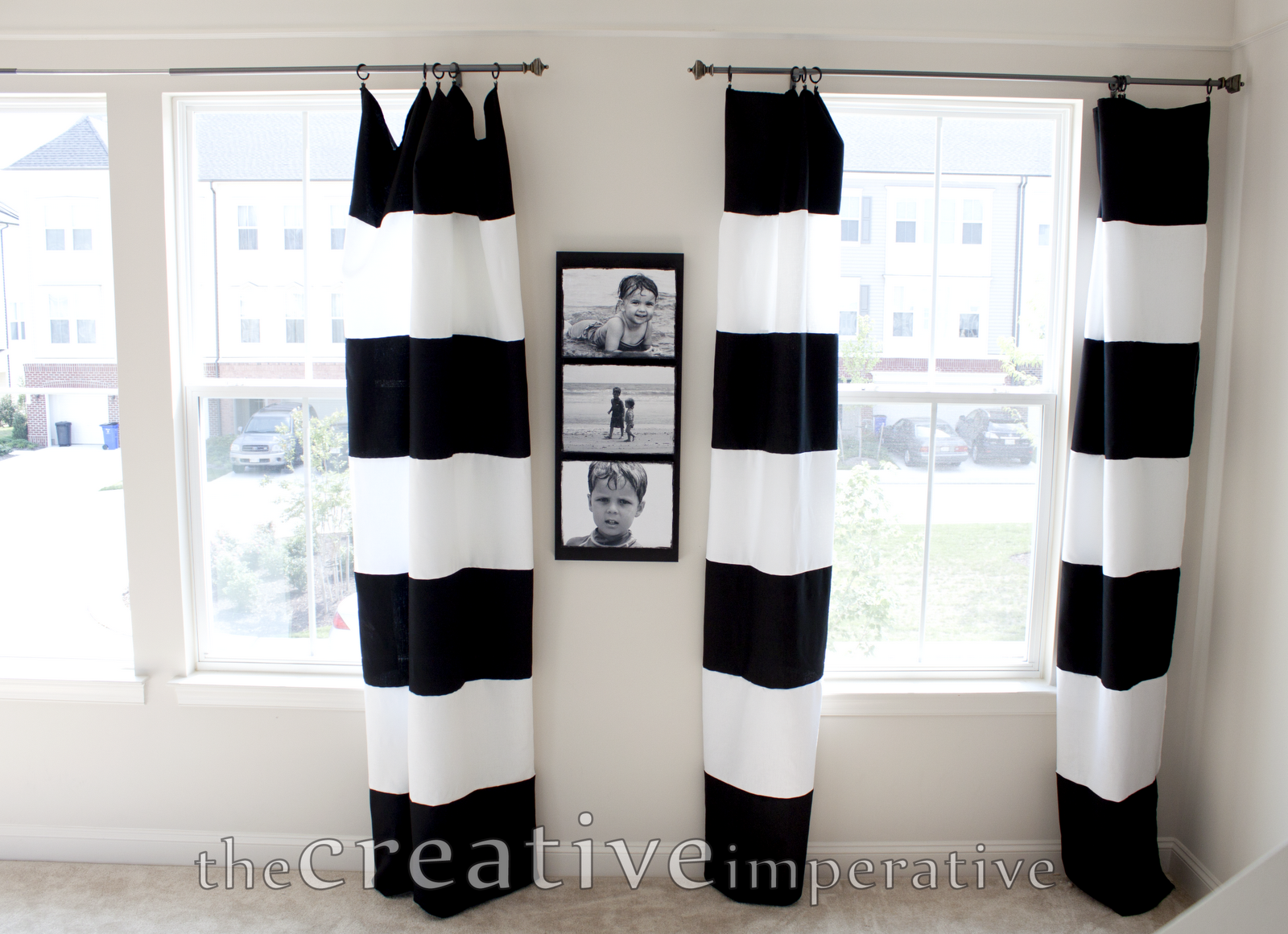 The creative imperative black and white horizontal Bold black and white striped curtains