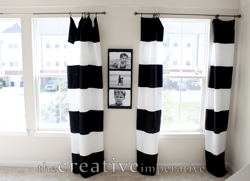 strips and sewed them together alternating the black and white stripes  title=