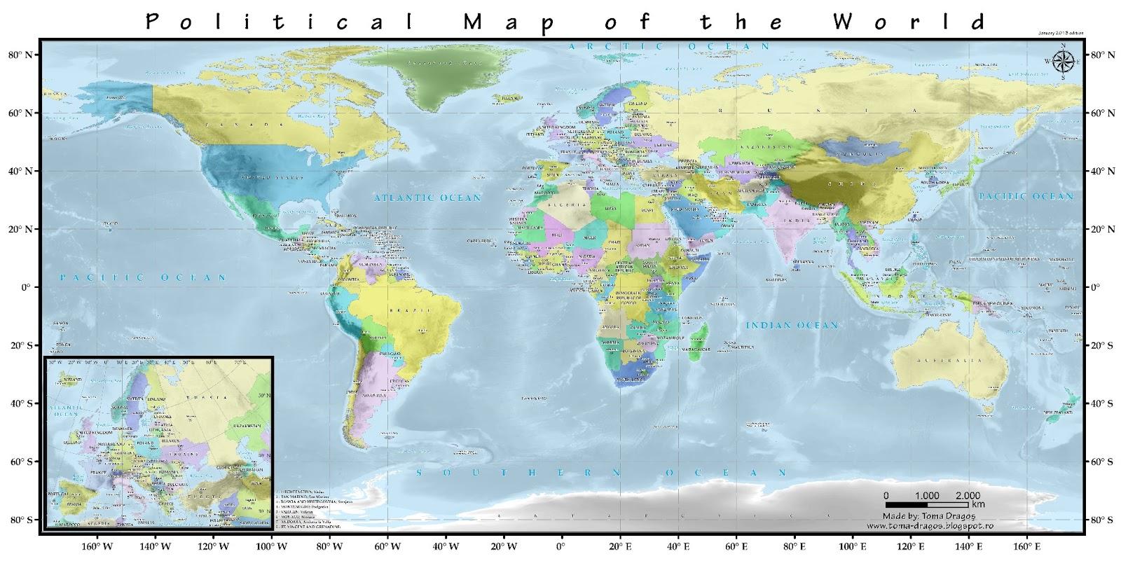 Lumea geografic i muzical a lui Drago Political map of the world and of