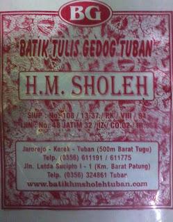 Tampilan plastik kemasan baru batik gedog HM Sholeh Tuban, Batik Tuban.