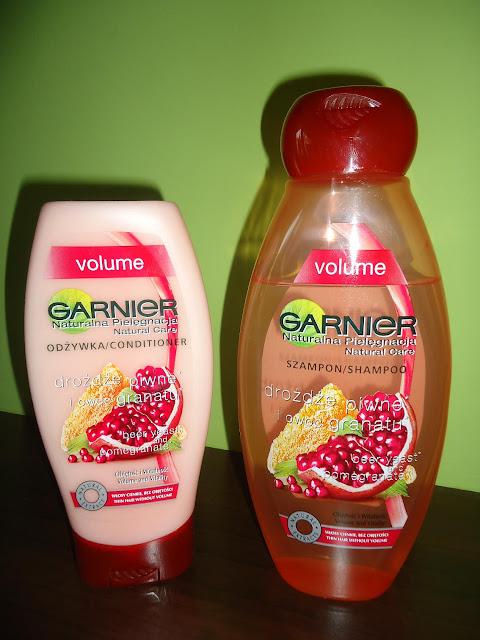 Garnier szampon i odżywka z serii Volume z drożdżami piwnymi i owocem granatu