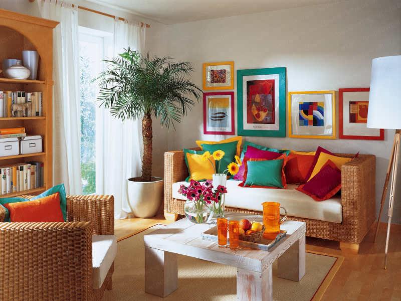 Casa de boneca decor almofadas coloridas para alegrar for Sala rustica moderna