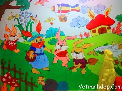 vẽ tranh tường công chúa cổ tích cho bé