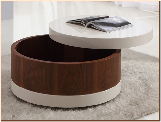 Spectacular round coffee table with storage underneath