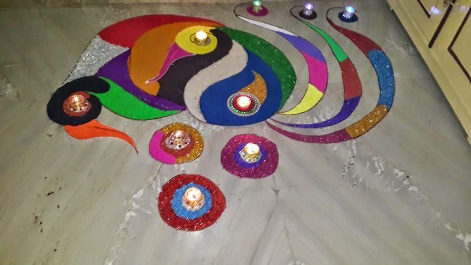 Peacock rangoli designs for Home rangoli designs
