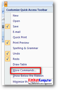 more commands ms word 2007