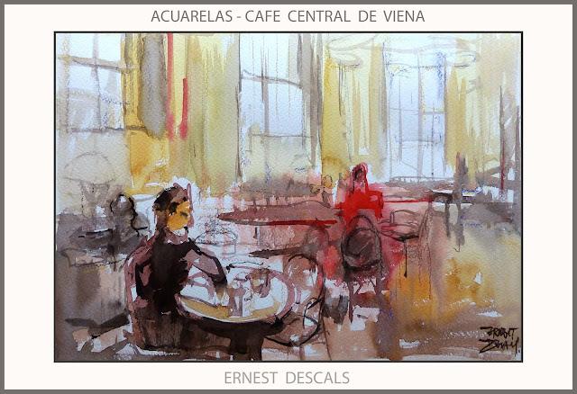 CAFE CENTRAL-PINTURA-ACUARELAS-VIENA-AUSTRIA-PINTURAS-ACUARELA-ARTISTA-PINTOR-ERNEST DESCALS-