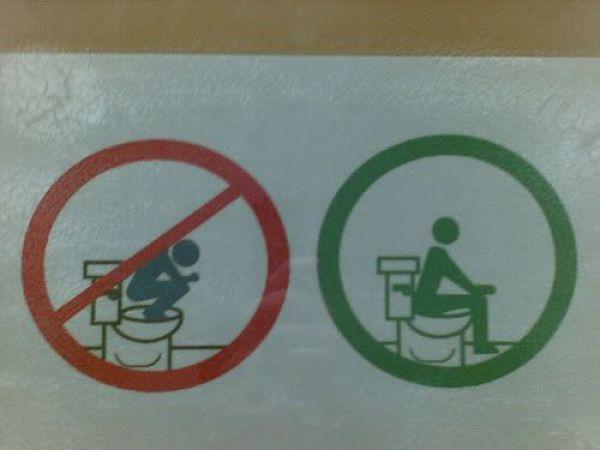 Pictograma de como usar e como não usar o benheiro