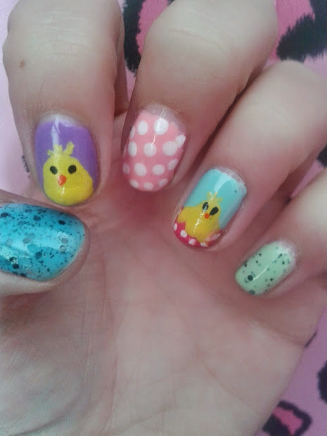 happy bubble gal easter nail art