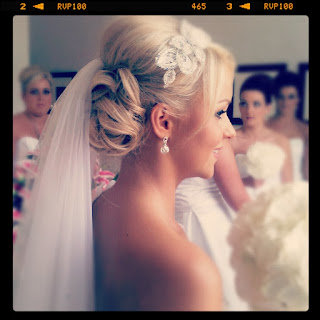 Gorgeous blonde romantic wedding curls with wedding dress and veil