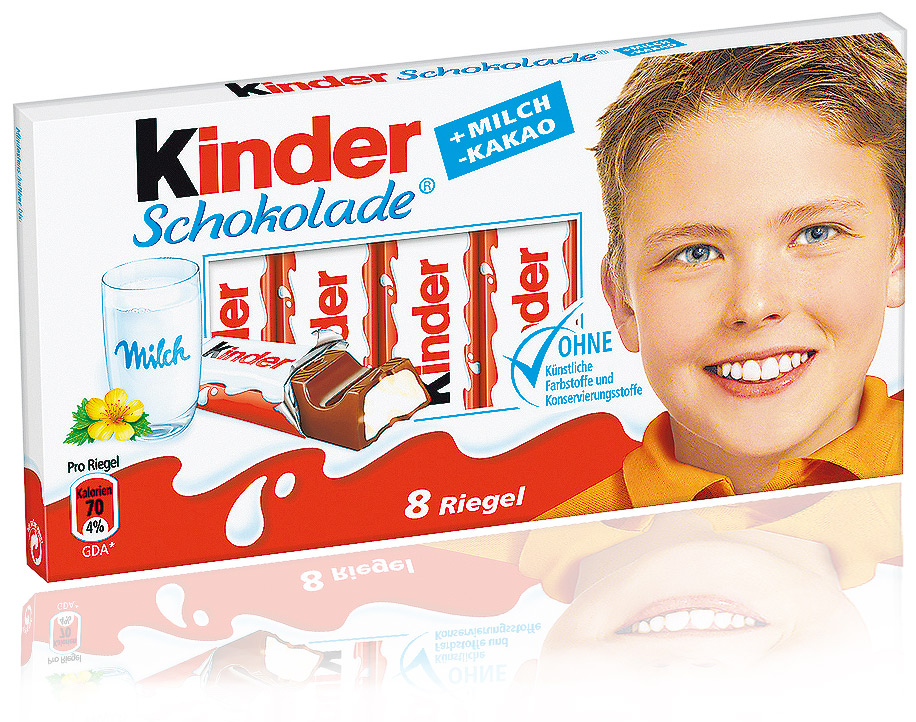 Kinder chocolate kinder riegel is a milk chocolate bar with
