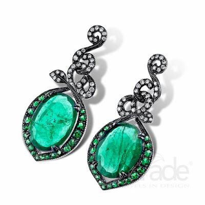 Diamond Tsavorite Earrings Emerald Slice