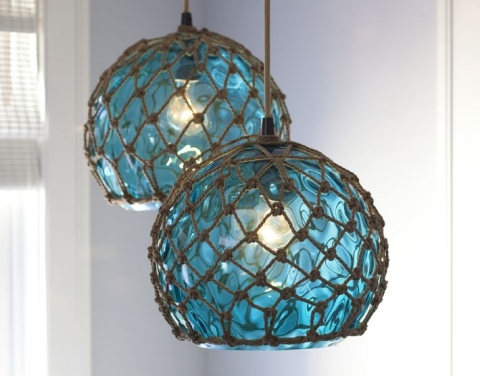 Buoy Table Lamp Coastal Lamps inspired by Fishing Glass Floats - Completely Coastal