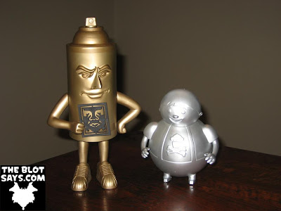 Obey Giant Mr. Spray Vinyl Figure by Shepard Fairey & Unpainted Metallic Silver Big Kid Vinyl Figure by Johnny Cupcakes