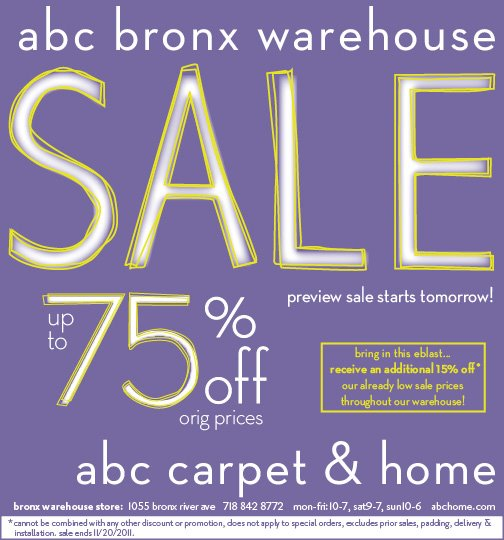 Clique nova york compras em new york for Abc carpet outlet sale