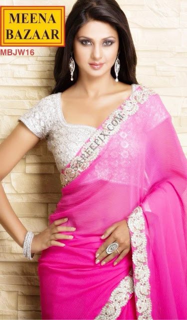 Jennifer-winget-pink-saree-photoshoot-Meena-Bazaar