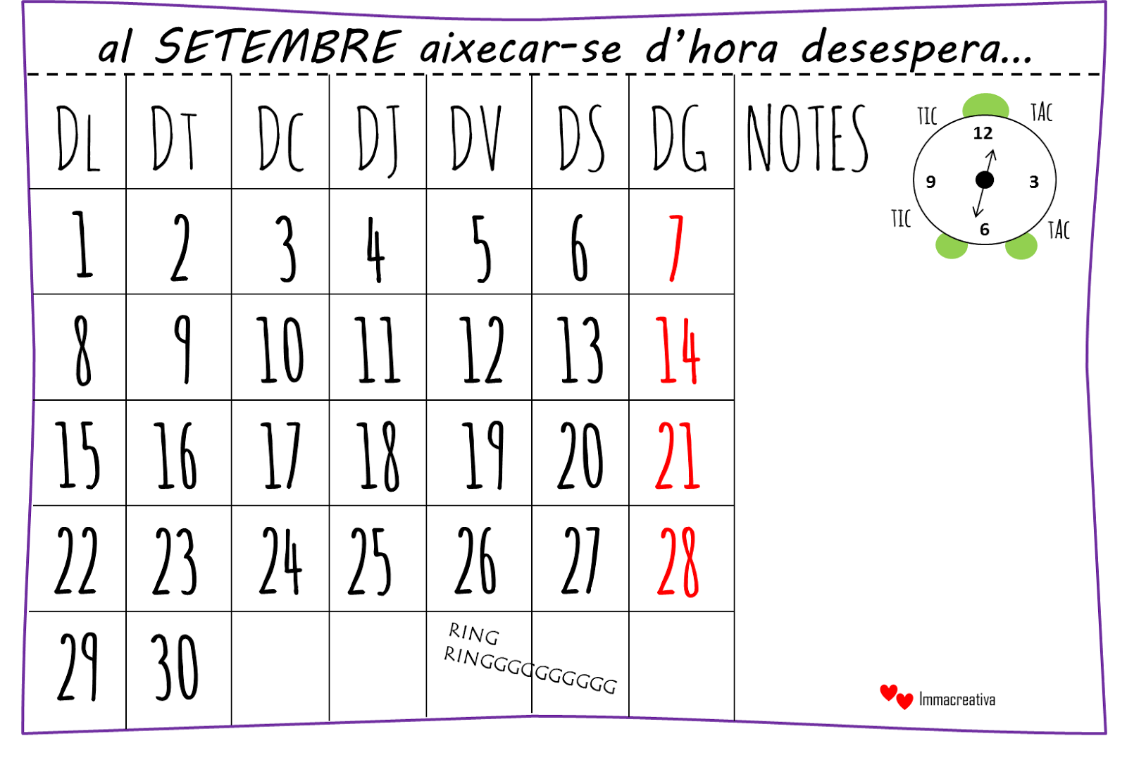 Calendario Imma Creativa
