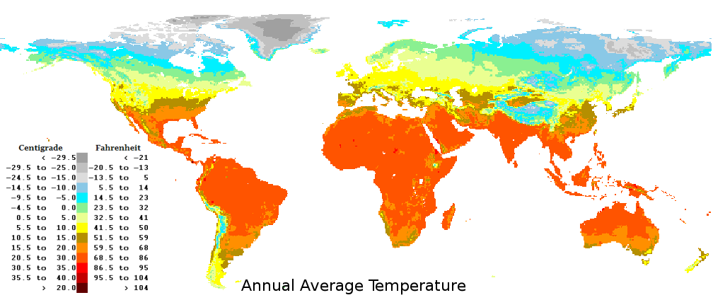 Climate regions and average annual temperature world map.