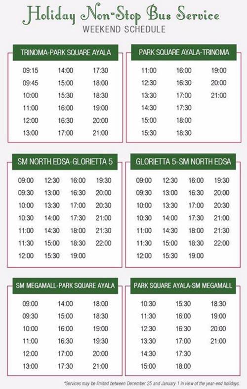 EDSA Express Buses - Holiday Non-Stop Bus Service schedule