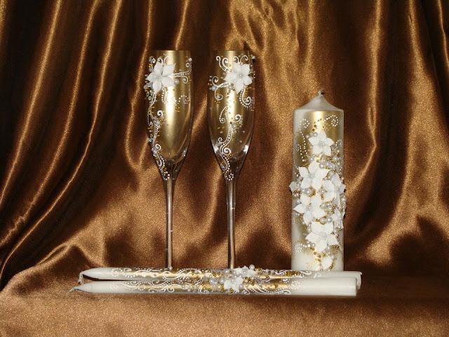 Весільні фужери і свічки, декор, ручна робота, Тернопіль, Україна