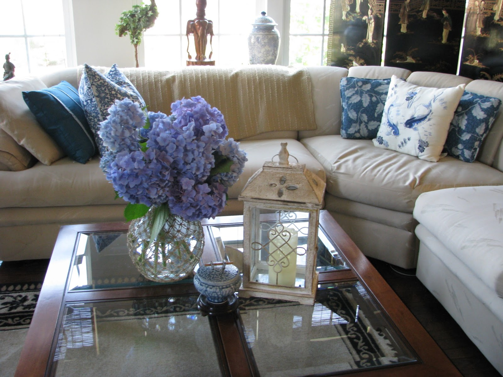 Designs by Pinky Hydrangeas on the Coffee Table and New Pillows