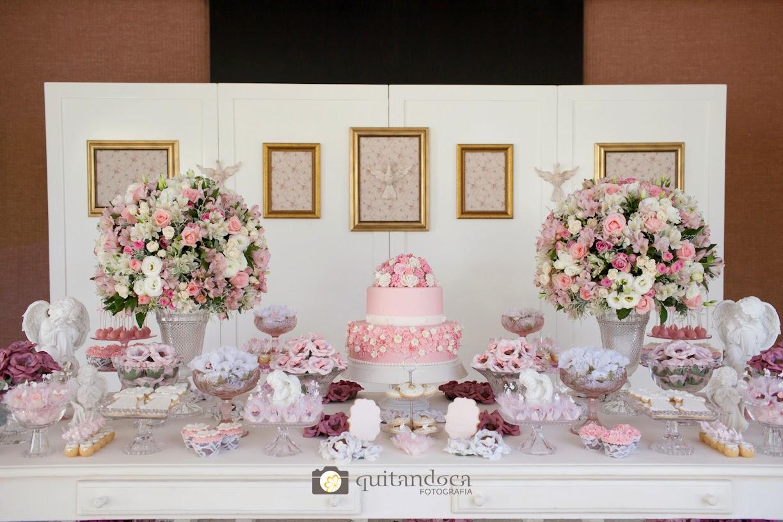 decoracao branco rosa e dourado: Fiore Decoração de Eventos: Batizado para Menina em Rosa e branco