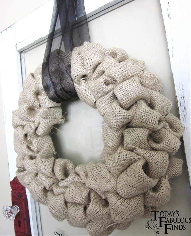Crafting on a budget diy burlap bubble wreath tutorial for What can i make with burlap
