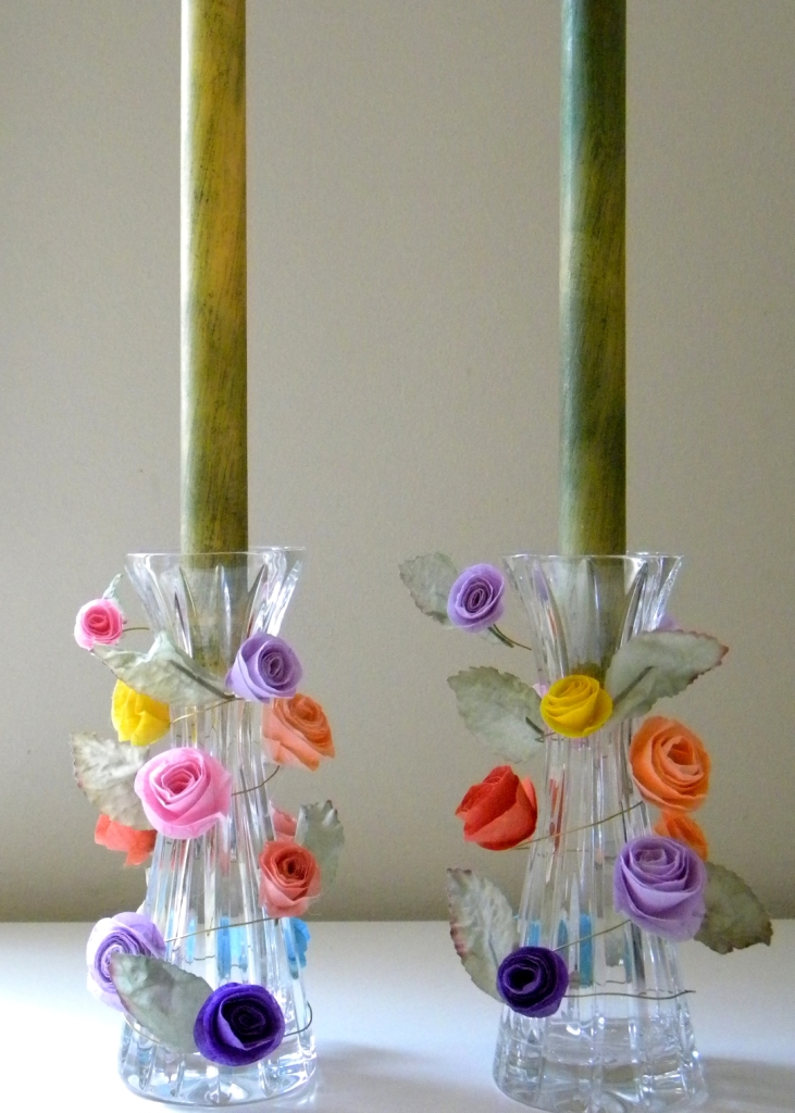 Homework a creative blog inkling paper flower candle for Cardboard candle holders