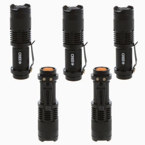 5 Pcs 5W 300Lm Mini CREE LED Flashlight Torch Adjustable Focus Zoom Light Lamps