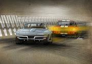 Chevy vs Ford. Un travail préparatoire pour un dessin nettement plus grand. (corvette mustangod)