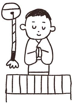 初詣・お参りのイラスト(お正月) 線画