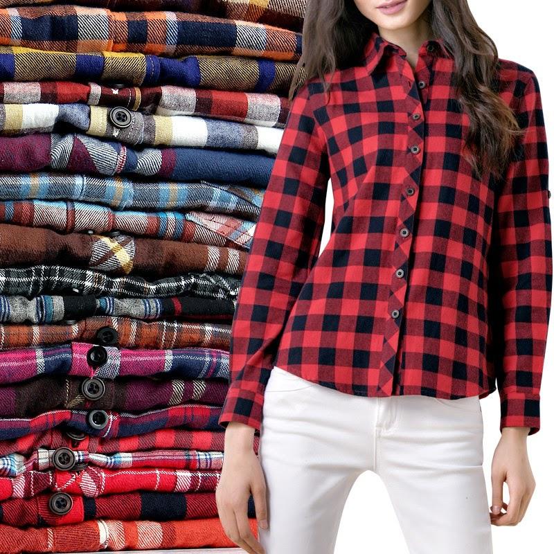 blouse geblokt dames