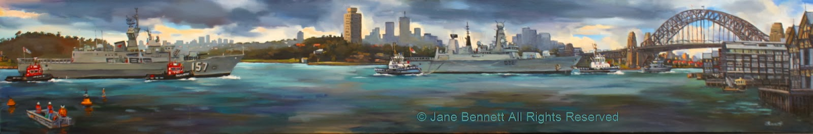 plein air oil painting by artist Jane Bennett of HMS Daring and HMAS Perth departing under the Sydney Harbour Bridge during International Fleet Review