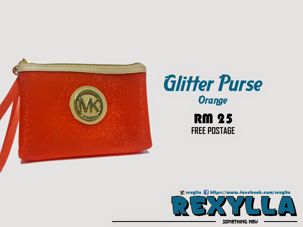 rexylla, glitter purse, orange
