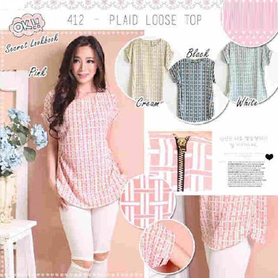 Atasan Plaid Loose Top - 10469