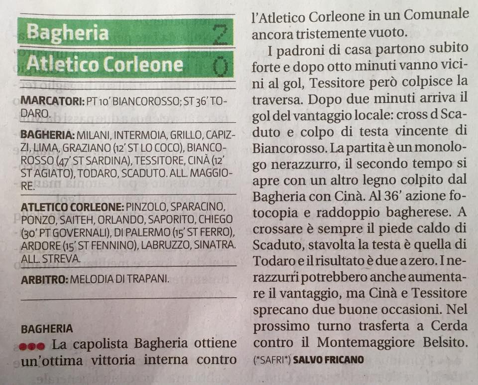 Calcio, purtroppo un'altra sconfitta per il Corleone