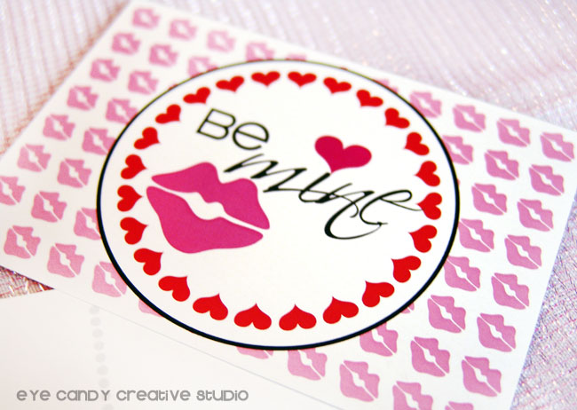 be mine, valentines day postcards, lip print postcard, be mine valentine