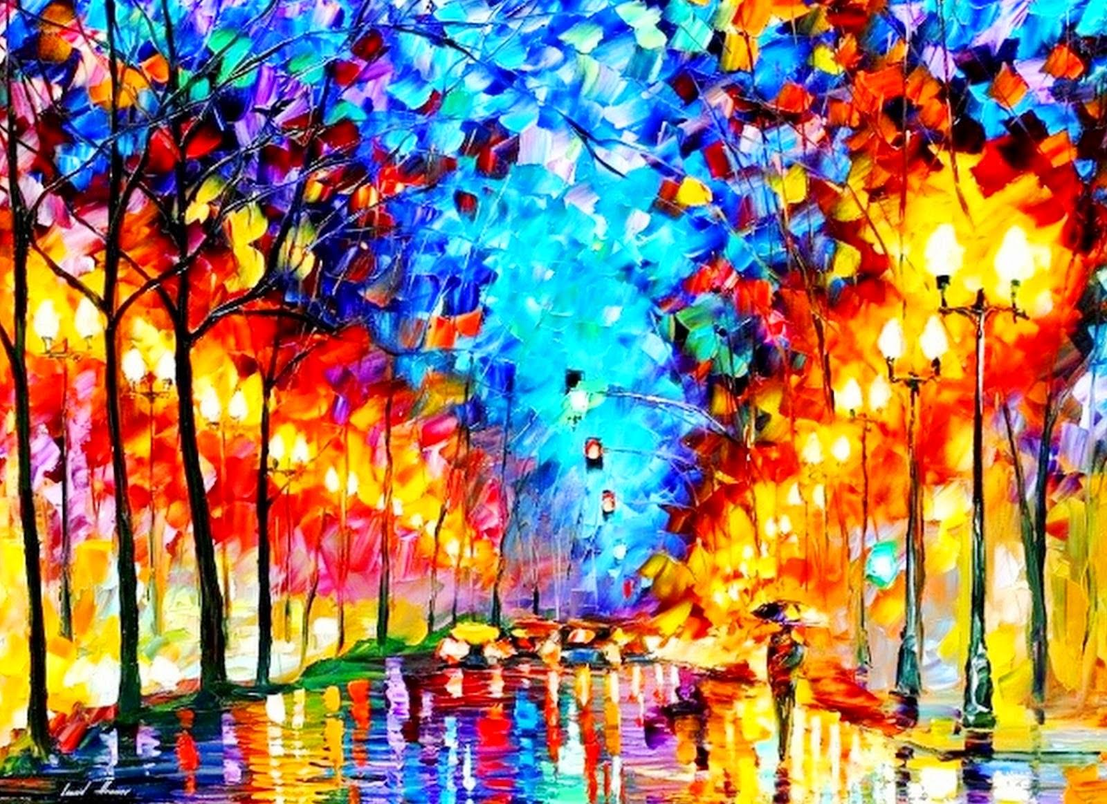 Violetas arte y color pintura leonid afremov - Los cuadros mas bonitos ...