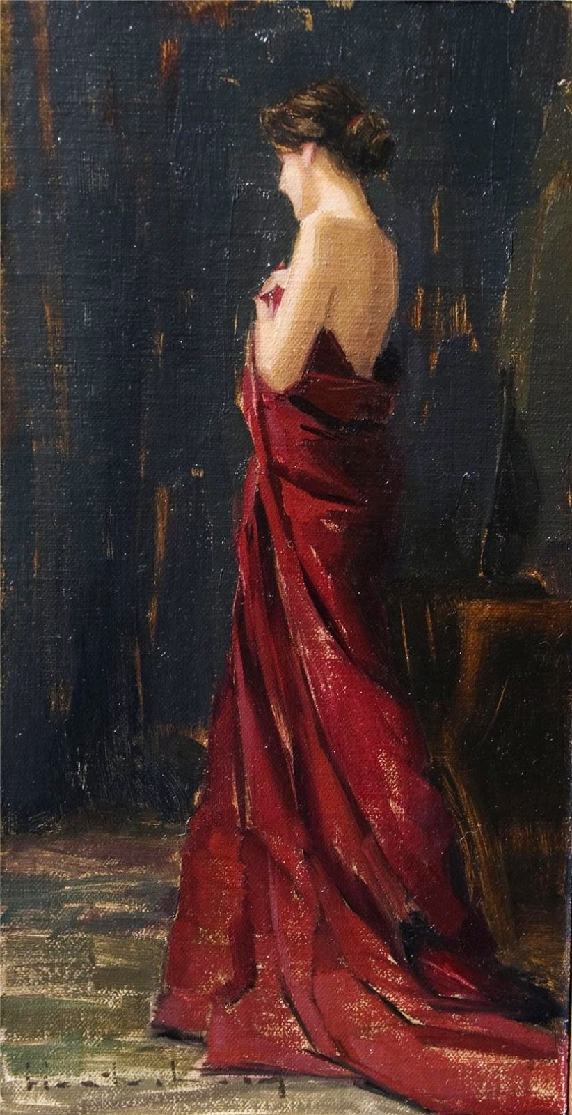 Female Red Dress Paintings