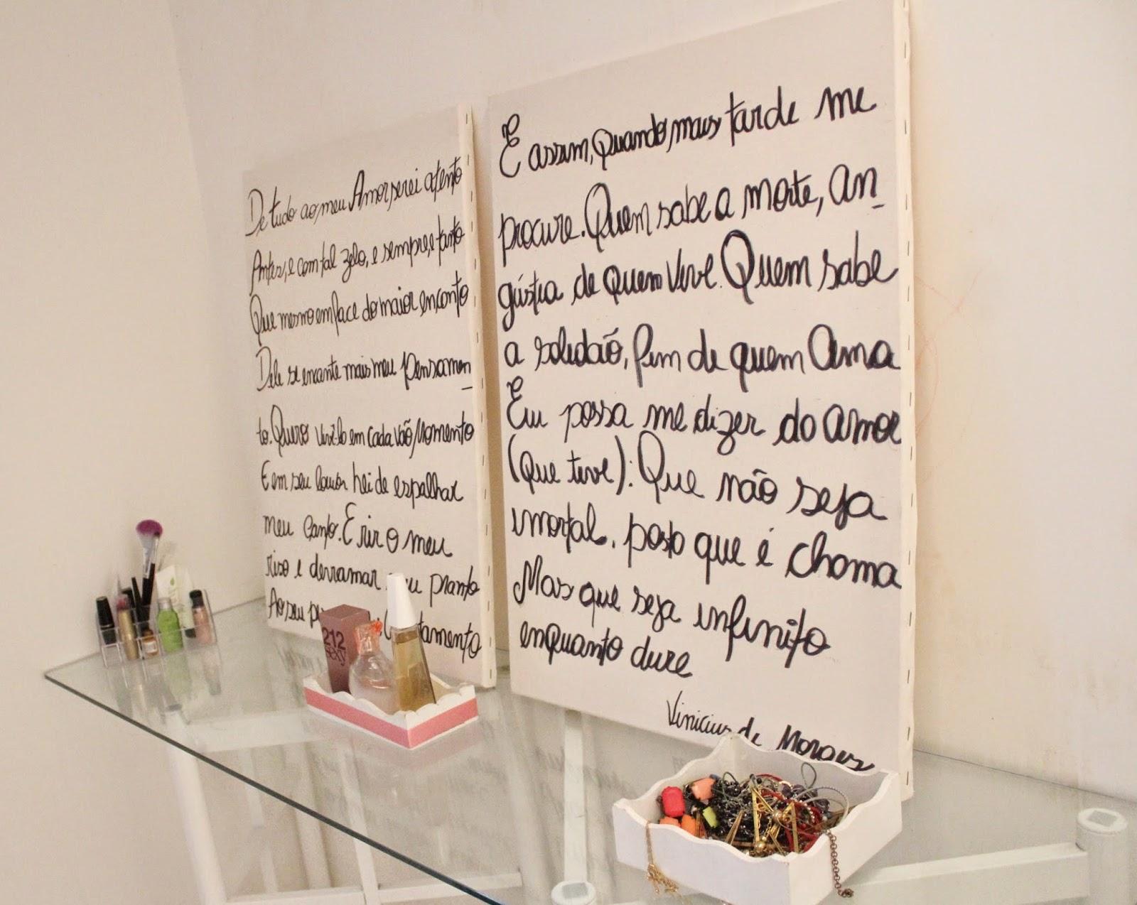 Telas de pintura escritas manualmente, decoração do quarto, telas vira cabeceira de cama de casal