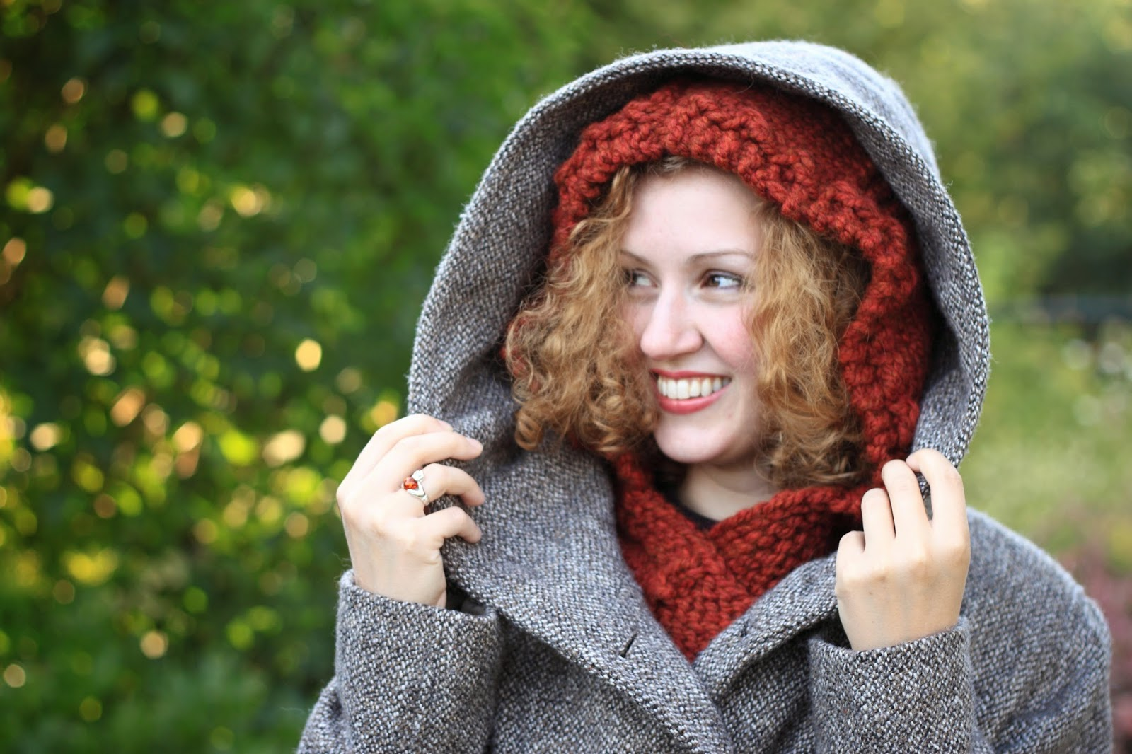 Hooded Cowl Knitting Pattern Ravelry : Through the Knitting Lens: Fall Woods Quilt Squares: Hooded Cowl -- New Patte...