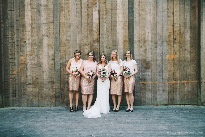 """bride and bridesmaids in rose gold sequins at rustic chic stern grove wedding"""""""