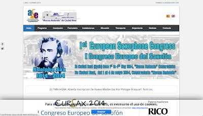 WorldSax.eu Primer Congreso Europeo del Saxofón Ciudad Real 2014 en directoriopax.com
